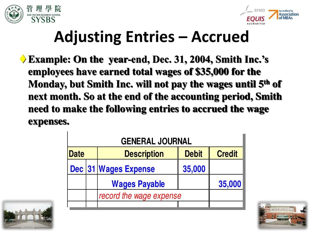 Adjusting Entries – Accrued