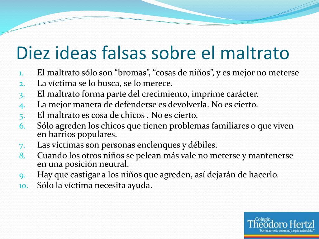 Diez ideas falsas sobre el maltrato
