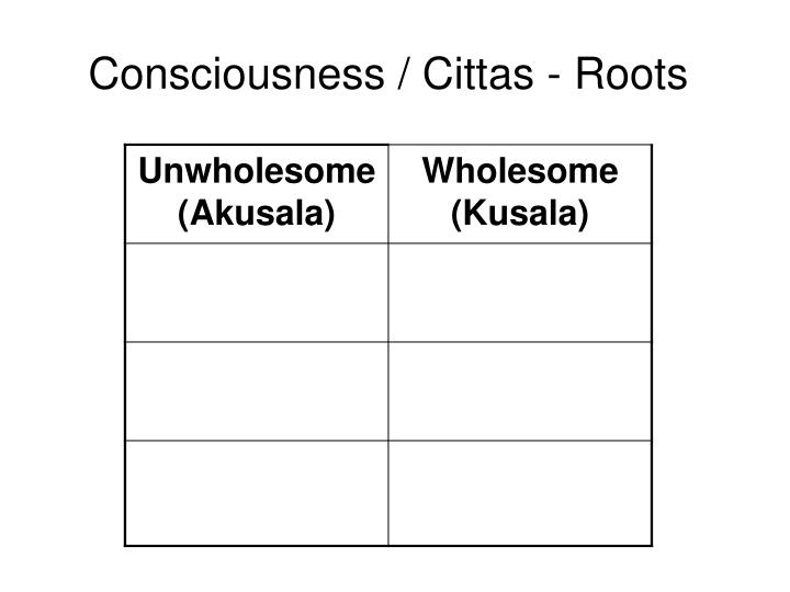 Consciousness / Cittas - Roots