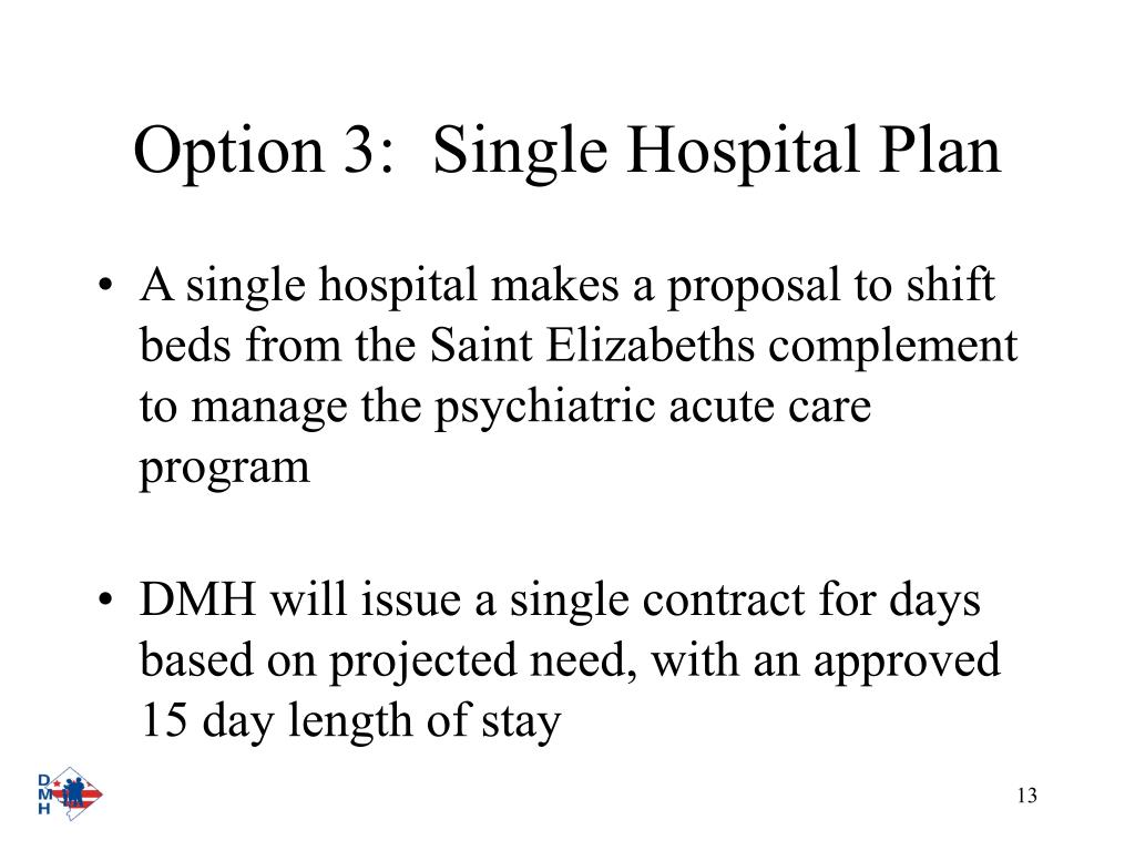 Option 3:  Single Hospital Plan