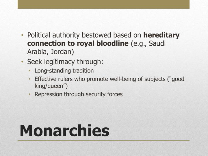 Political authority bestowed based on