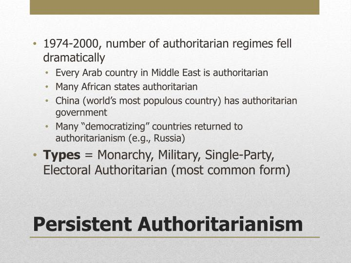 1974-2000, number of authoritarian regimes fell dramatically