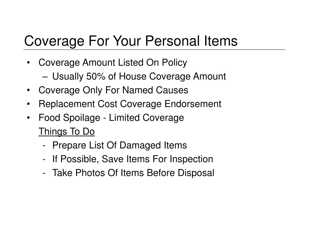 Coverage For Your Personal Items