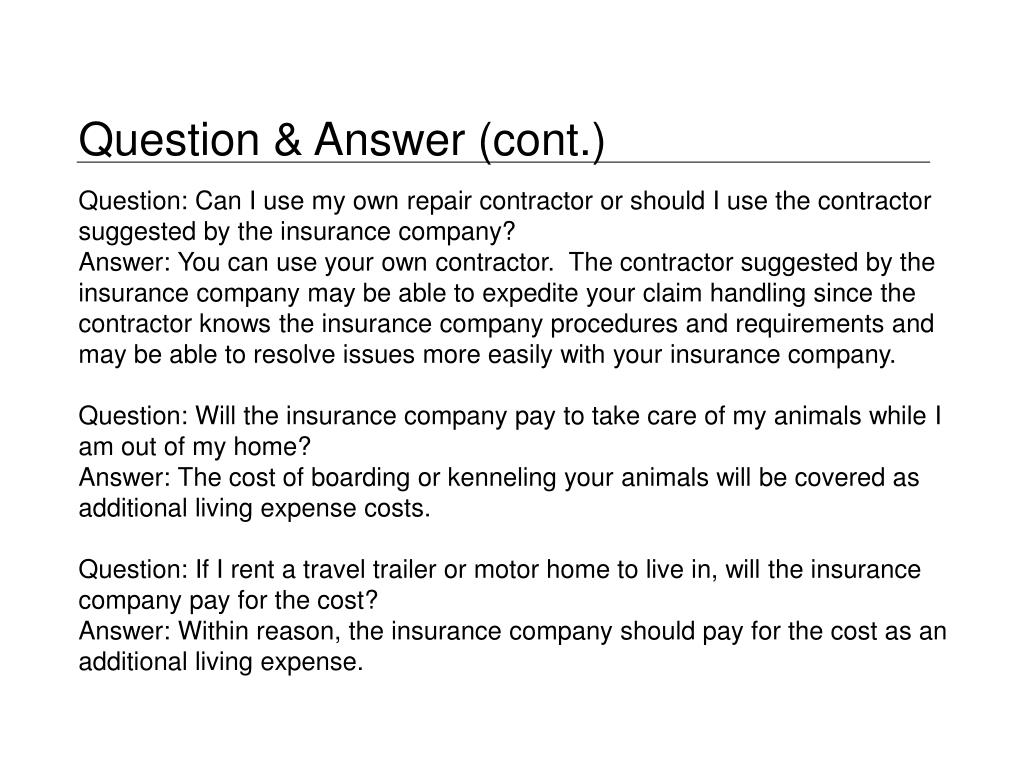 Question & Answer (cont.)