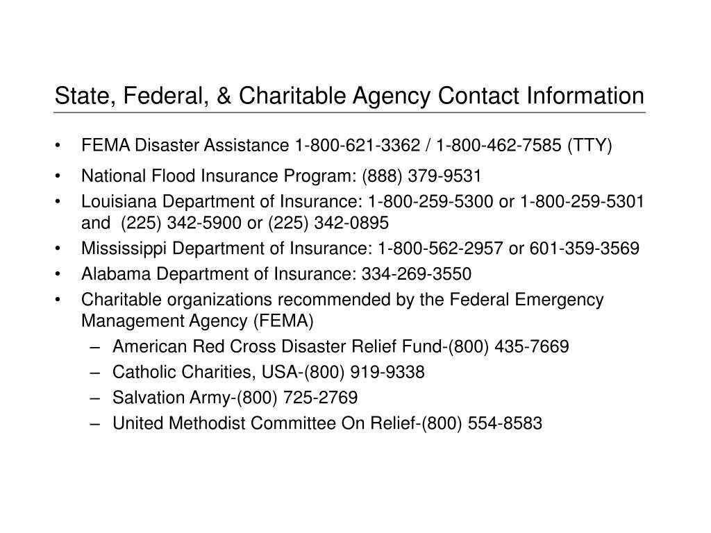 State, Federal, & Charitable Agency Contact Information