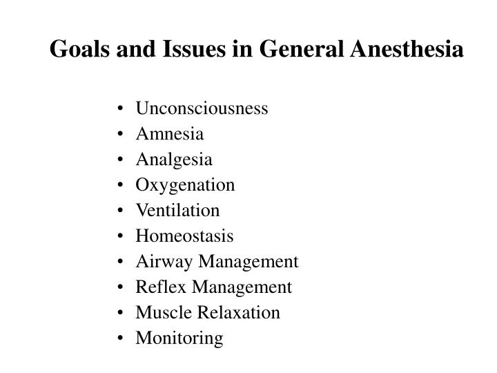 Goals and Issues in General Anesthesia