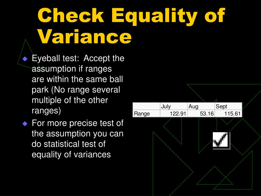 Check Equality of Variance