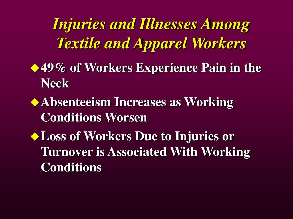Injuries and Illnesses Among Textile and Apparel Workers