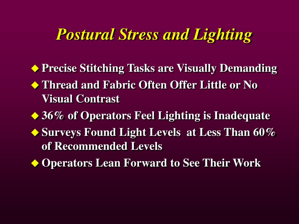 Postural Stress and Lighting