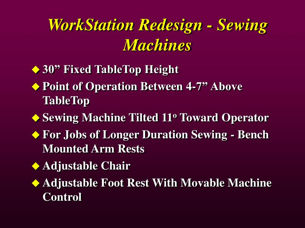 WorkStation Redesign - Sewing Machines
