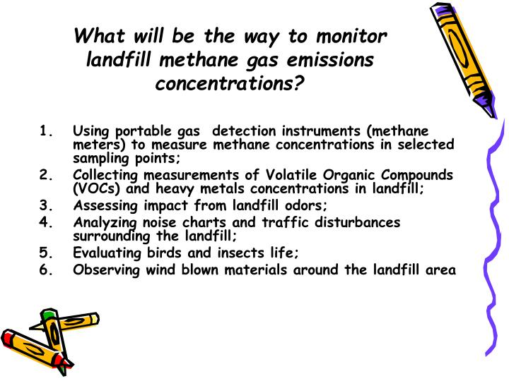 What will be the way to monitor landfill methane gas emissions concentrations?