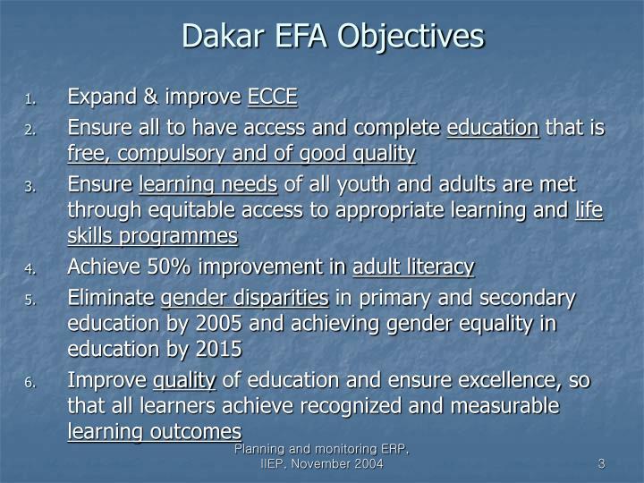 Dakar EFA Objectives