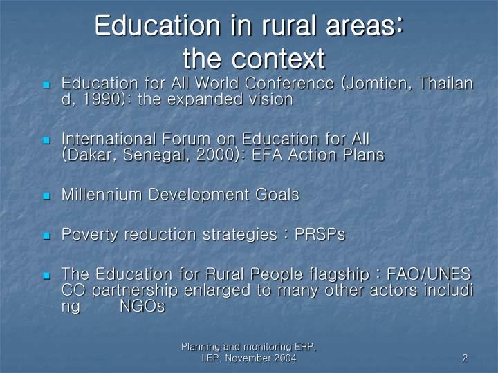 Education in rural areas the context