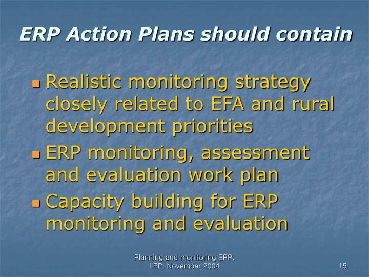 ERP Action Plans should contain