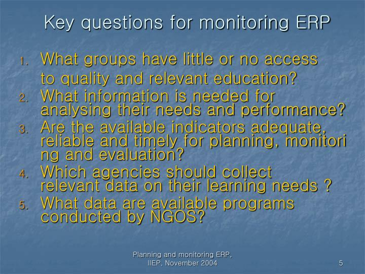 Key questions for monitoring ERP
