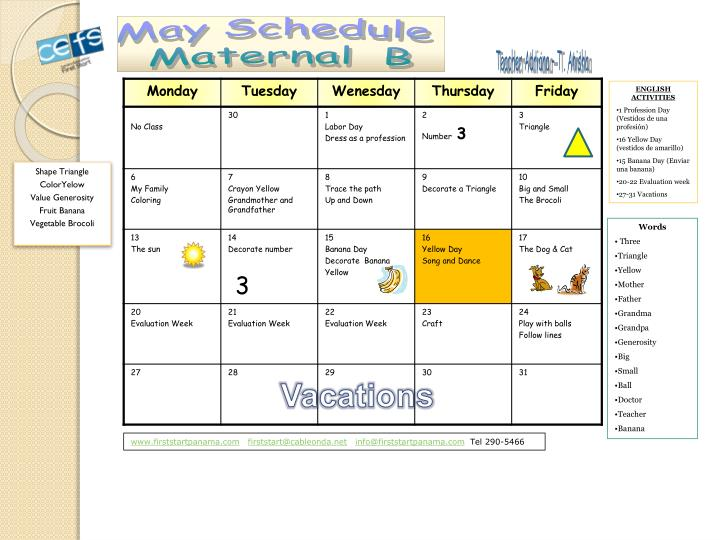 May Schedule