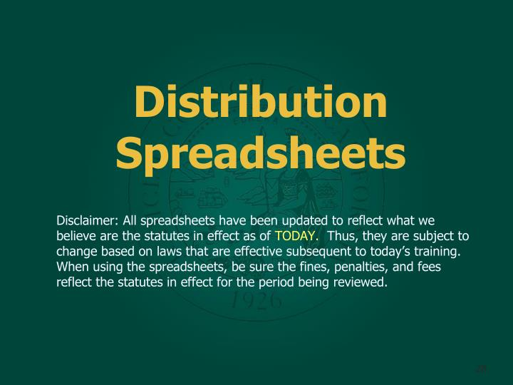 Distribution Spreadsheets