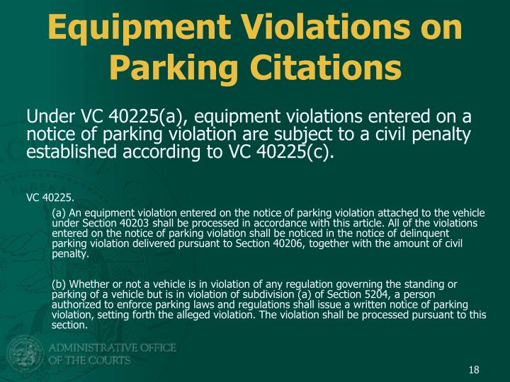 Equipment Violations on Parking Citations