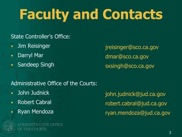 Faculty and contacts