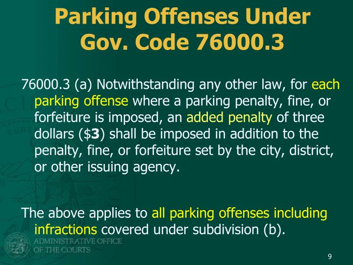 Parking Offenses Under