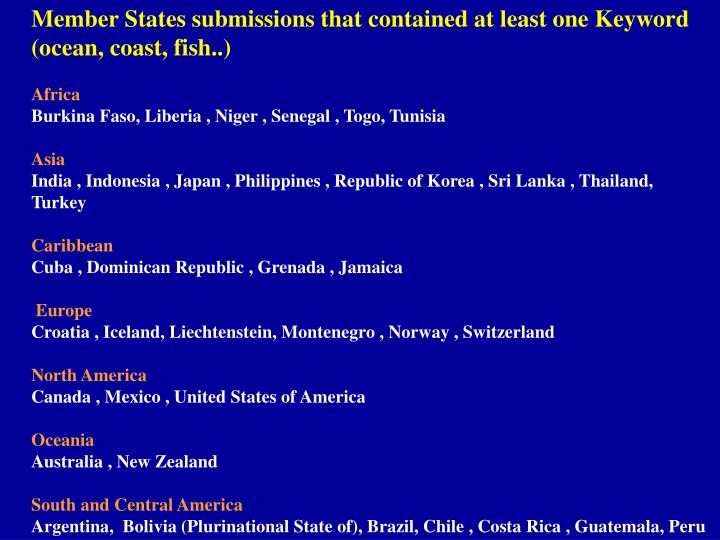Member States submissions that contained at least one Keyword (ocean, coast, fish..)