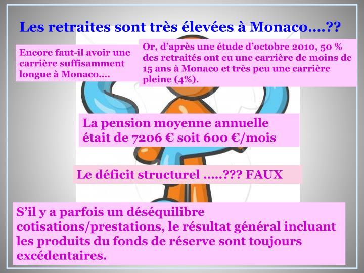 Les retraites sont très élevées à Monaco….??