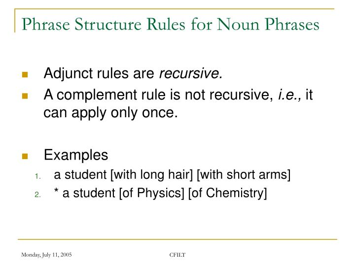Phrase Structure Rules for Noun Phrases