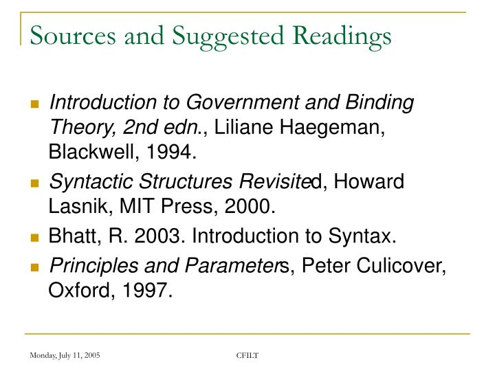 Sources and Suggested Readings