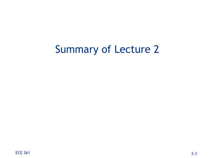 Summary of lecture 2