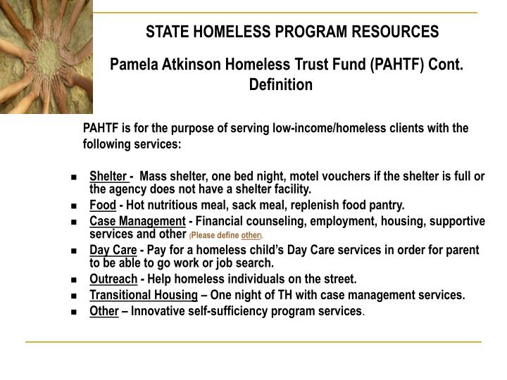 STATE HOMELESS PROGRAM RESOURCES