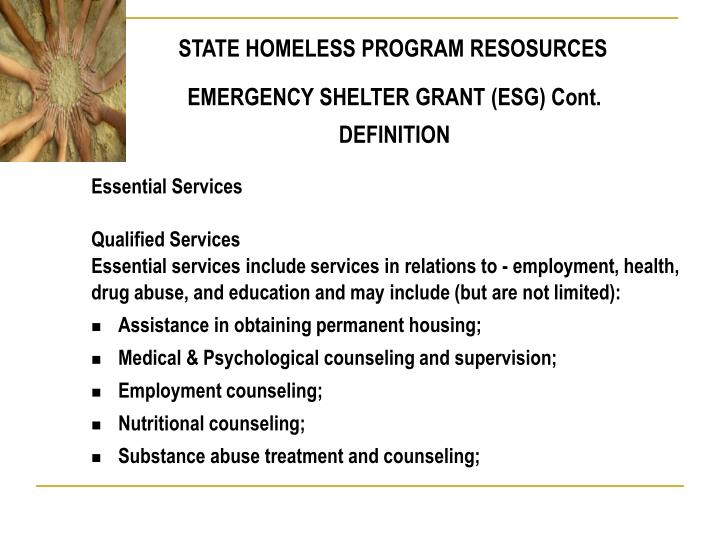 STATE HOMELESS PROGRAM RESOSURCES