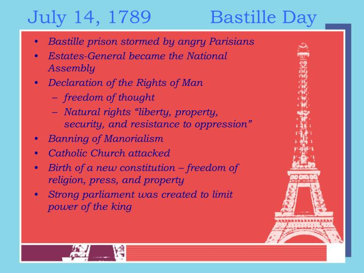 July 14, 1789Bastille Day