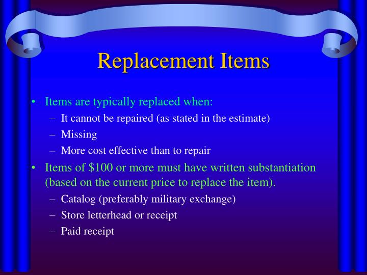 Replacement Items