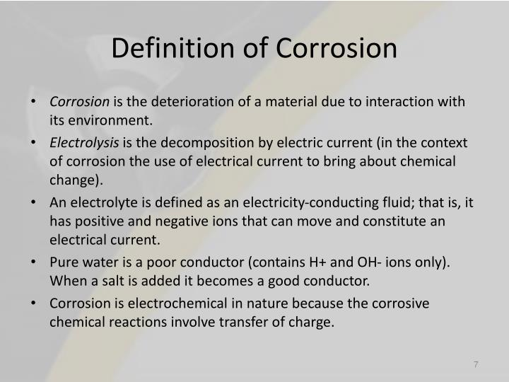 Definition of Corrosion