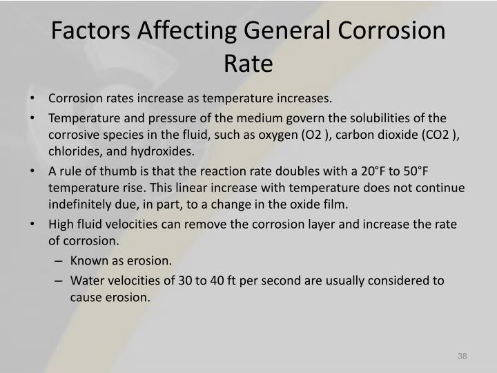 Factors Affecting General Corrosion Rate