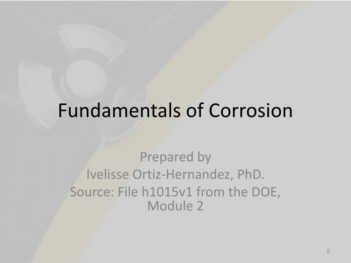 Fundamentals of corrosion