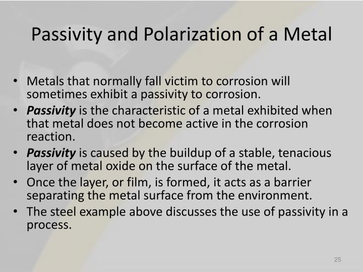 Passivity and Polarization of a Metal
