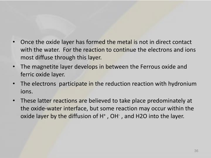 Once the oxide layer has formed the metal is not in direct contact with the water.  For the reaction to continue the electrons and ions most diffuse through this layer.