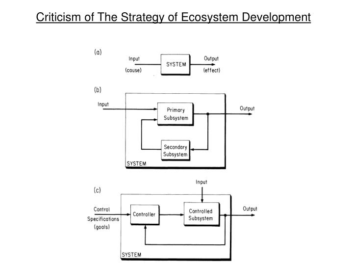 Criticism of The Strategy of Ecosystem Development