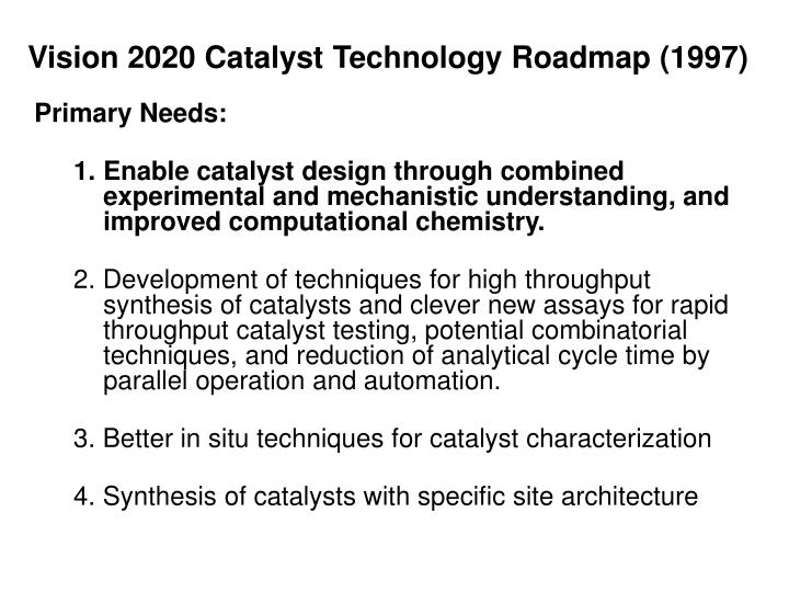 Vision 2020 Catalyst Technology Roadmap (1997)