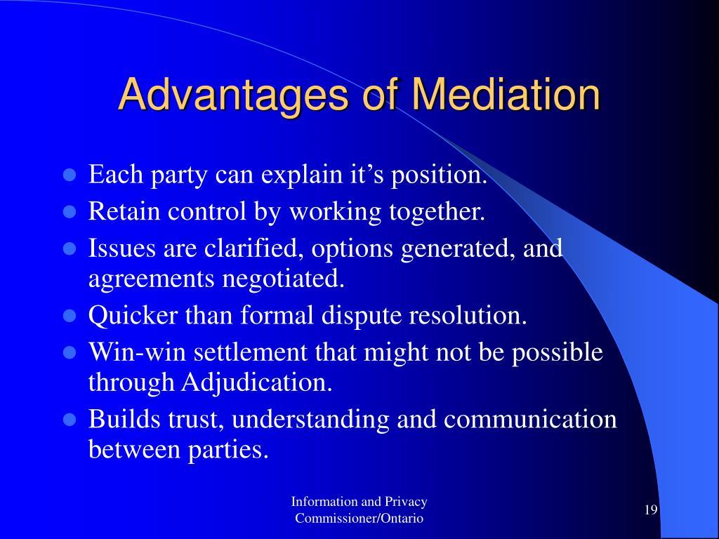 Advantages of Mediation