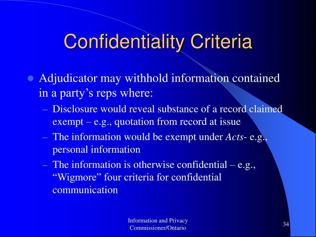 Confidentiality Criteria