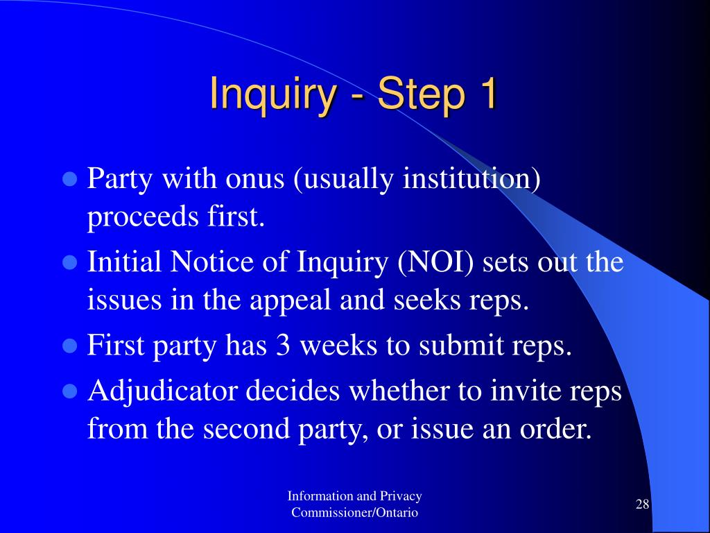 Inquiry - Step 1