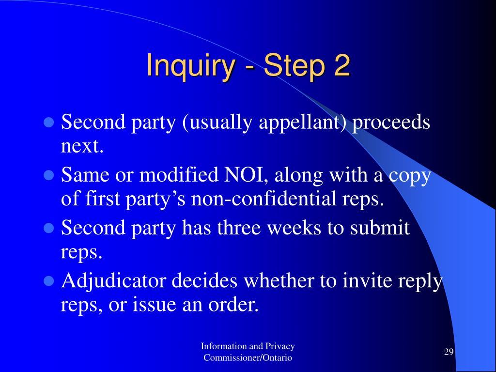 Inquiry - Step 2