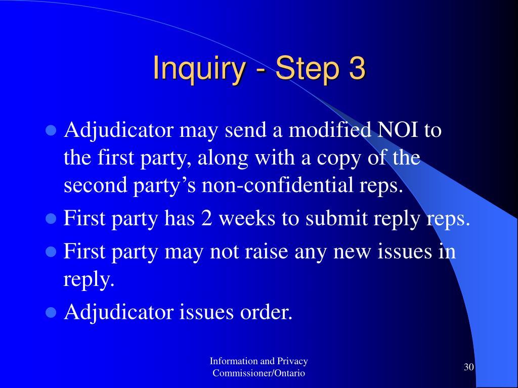 Inquiry - Step 3