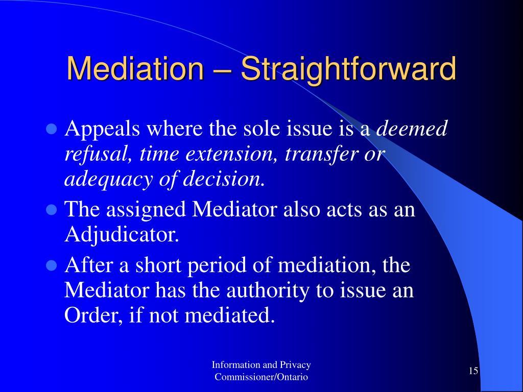 Mediation – Straightforward