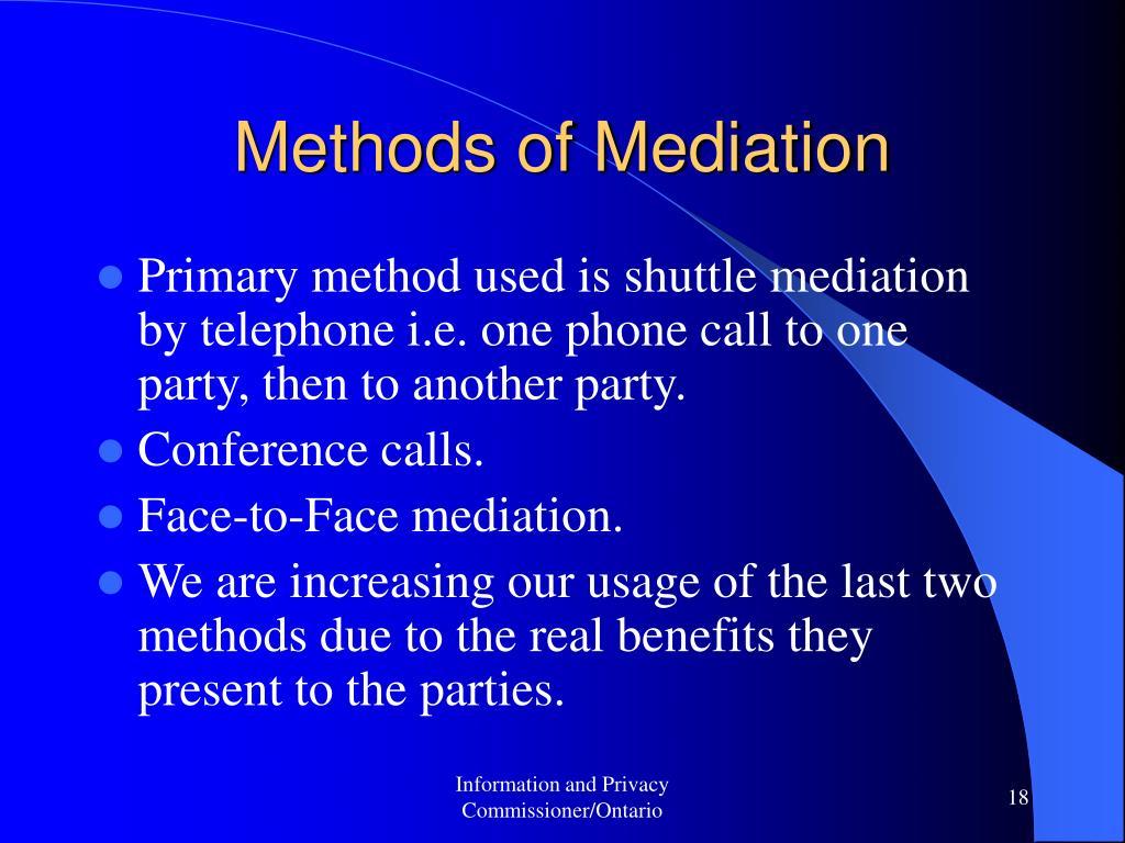 Methods of Mediation