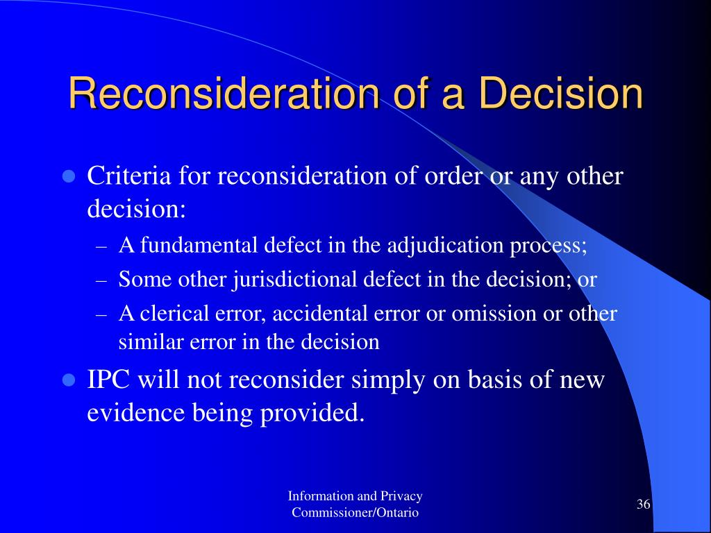 Reconsideration of a Decision