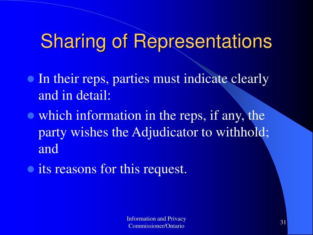 Sharing of Representations