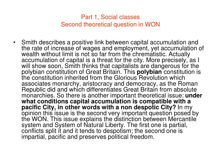 Part 1, Social classes